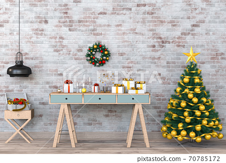 Christmas interior workspace room. 3d render 70785172