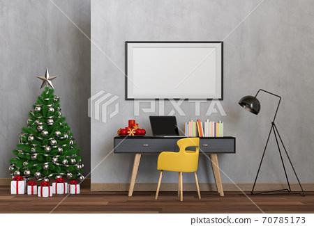 mock up poster frame Christmas interior workspace room. 3d render 70785173