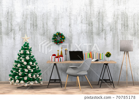 Christmas interior workspace with computer. 3d render 70785178