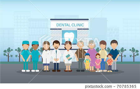 Dental clinic with medical staff and patients 70785365