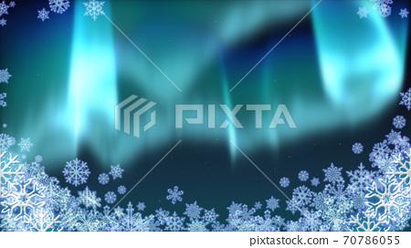 極光夜空背景,聖誕節,雪水晶框架 70786055