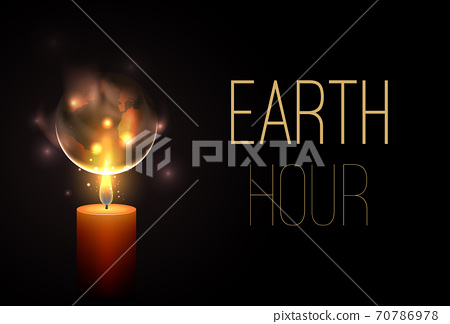 Earth Hour. Time without electricity. Nature conservation. Ecological problem of planet pollution. Vector horizontal card 70786978