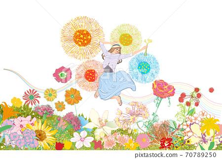 一個女人在花田中快樂地跳躍的插圖 70789250