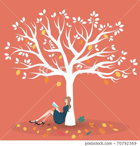 坐在秋天的葉子和閱讀樹下的女人的插圖 70792369