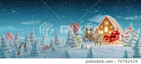 Happy Santa Claus in Christmas sleigh in a magical forest with candy canes. 70792429