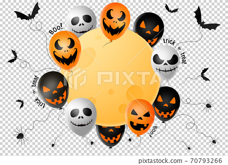 Halloween party  banner ,scary balloons, bat,spider, spider web ,full moon isolated  on png or transparent  background, text boo, trick or treat  , sale banner template ,website, poster, vector  70793266