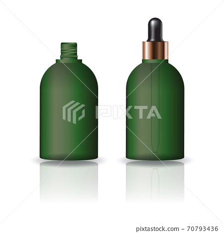Blank green round cosmetic bottle with dropper lid for beauty or healthy product. 70793436