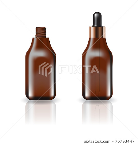 Blank brown square cosmetic bottle with dropper lid for beauty or healthy product. 70793447