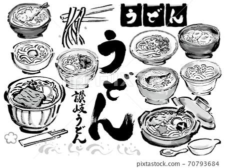 一套日式手繪插圖和各種烏冬面的手繪字符 70793684