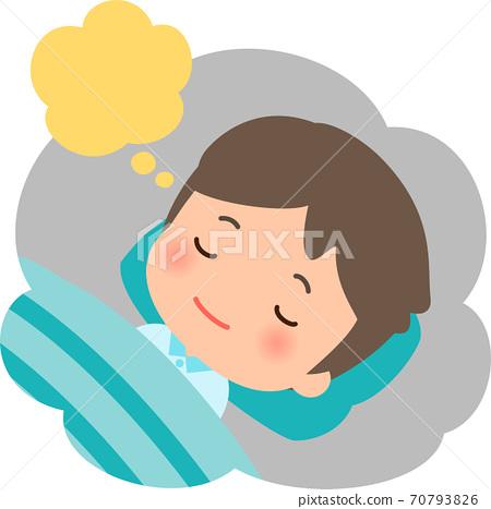 睡覺的年輕人做夢 70793826