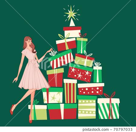 一個女人準備一份聖誕禮物的插圖 70797033