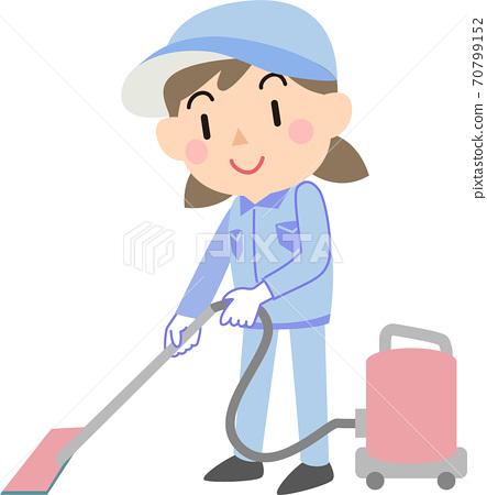 진공 청소기로 청소 여성 청소 업체 70799152