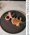 Sliced pear and a freshly prepared fillet of a duck 70802201