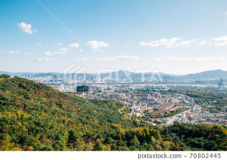 Panoramic view of Seoul city and mountains from Namsan tower in Seoul, Korea 70802445