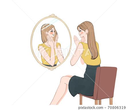 一個女人在早上出去之前照鏡子,今天想盡力而為的女人的插圖 70806319