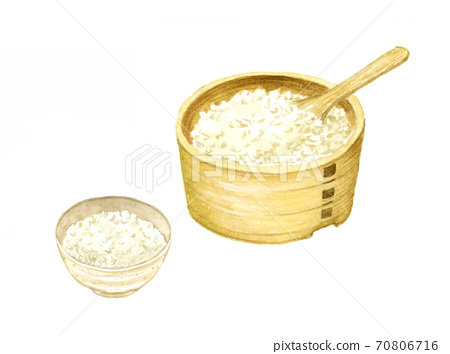 Watercolor illustration of ohitsu and rice 70806716