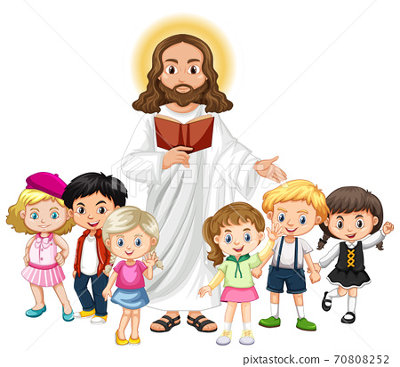 Jesus preaching to a children group cartoon character 70808252