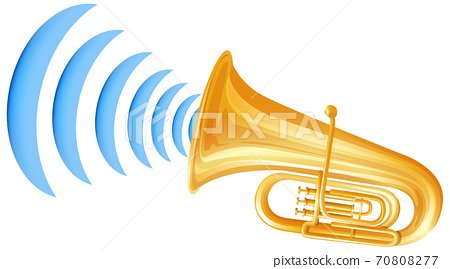 Trumpet with sound wave icon 70808277
