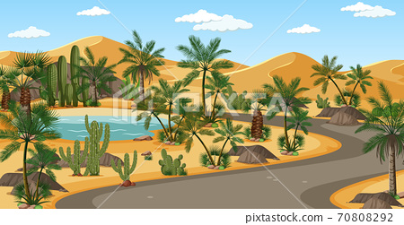 Desert oasis with palms and road nature landscape scene 70808292