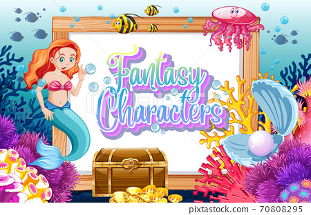 Fantasy characters logo with mermaids on undersea background 70808295