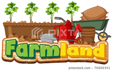 Farmland logo or banner with gardening tools isolated on white background 70808301