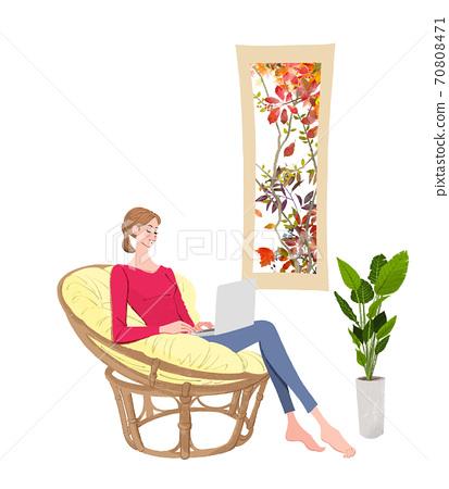 가을 창가에 의자에 앉아 노트북에서 일하는 여성의 일러스트 70808471