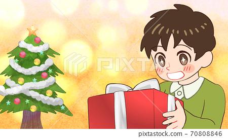 선물을 받고 기뻐하는 소년의 일러스트 반짝 크리스마스 트리, 가로 크기 70808846