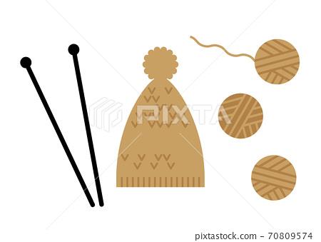 編織針織帽的插圖 70809574