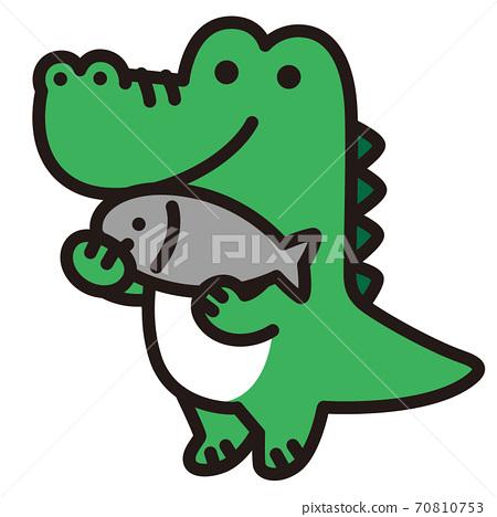 鱷魚字符拿著一條魚 70810753