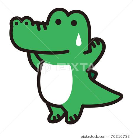 遇到麻煩和出汗的鱷魚角色 70810758