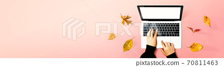 Autumn leaves with person using a laptop computer 70811463