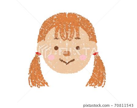 크레용 터치 소녀의 얼굴의 일러스트 70811543