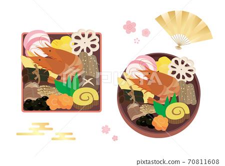 圓形和方形沉重的盒子裡的新年菜餚的插圖集 70811608