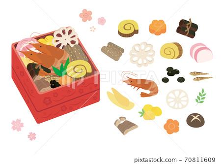 在一個沉重的盒子裡的新年菜餚的插圖集 70811609