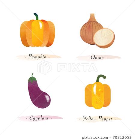 Watercolor healthy nature organic plant vegetable food ingredient pumpkin onion eggplant yellow pepper 70812052