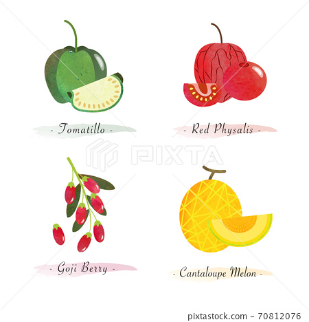 Organic nature healthy food fruit tomatillo red physalis goji berry cantaloupe melon 70812076