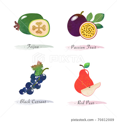 Organic nature healthy food fruit feijoa passion fruit black currant red pear 70812089