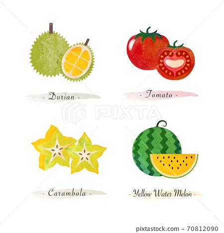 Organic nature healthy food fruit durian tomato carambola water melon 70812090