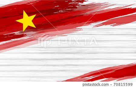 Vietnam flag paint brush on white wood background vector illustration 70815599