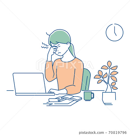 遠程工作/眼睛疲倦的女性/ 3種顏色 70819796