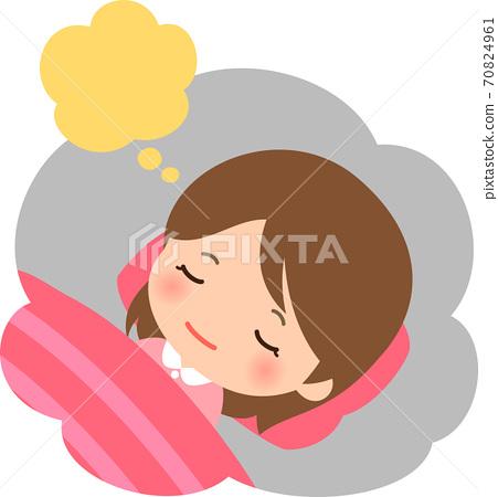 睡覺的年輕女子在做夢 70824961