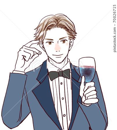 英俊的男人用酒 70826715