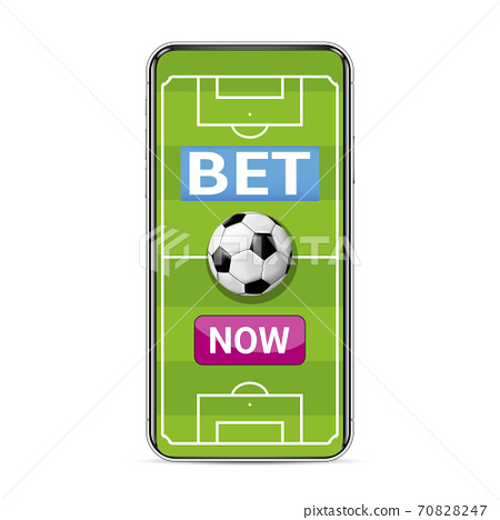 Smart phone with football field for betting online 70828247