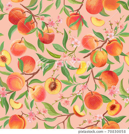 Peach pattern with tropic fruits, leaves, flowers background. seamless texture illustration in watercolor style 70830058