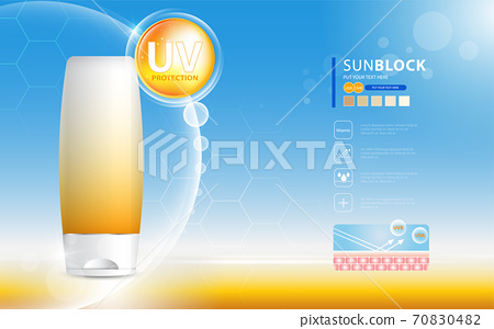 Sunblock ads template, sun protection cosmetic products design with moisturizer cream or liquid, sparkling background with glitter polka, vector design. 70830482