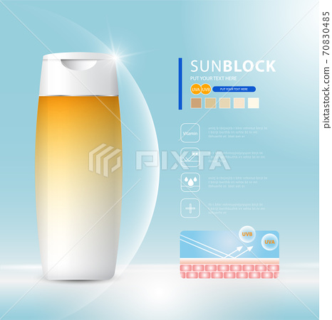 Sunblock ads template, sun protection cosmetic products design with moisturizer cream or liquid, sparkling background with glitter polka, vector design. 70830485