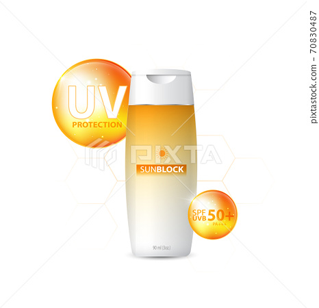 Sunblock ads template, sun protection cosmetic products design with moisturizer cream or liquid, sparkling background with glitter polka, vector design. 70830487