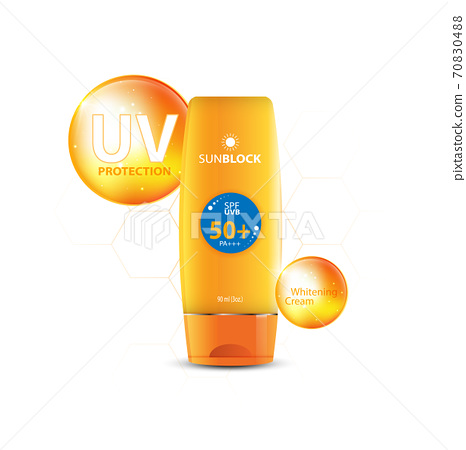 Sunblock ads template, sun protection cosmetic products design with moisturizer cream or liquid, sparkling background with glitter polka, vector design. 70830488
