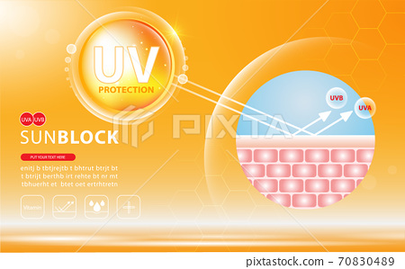 Sunblock ads template, sun protection cosmetic products design with moisturizer cream or liquid, sparkling background with glitter polka, vector design. 70830489