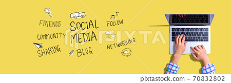 Social media theme with woman using a laptop 70832802